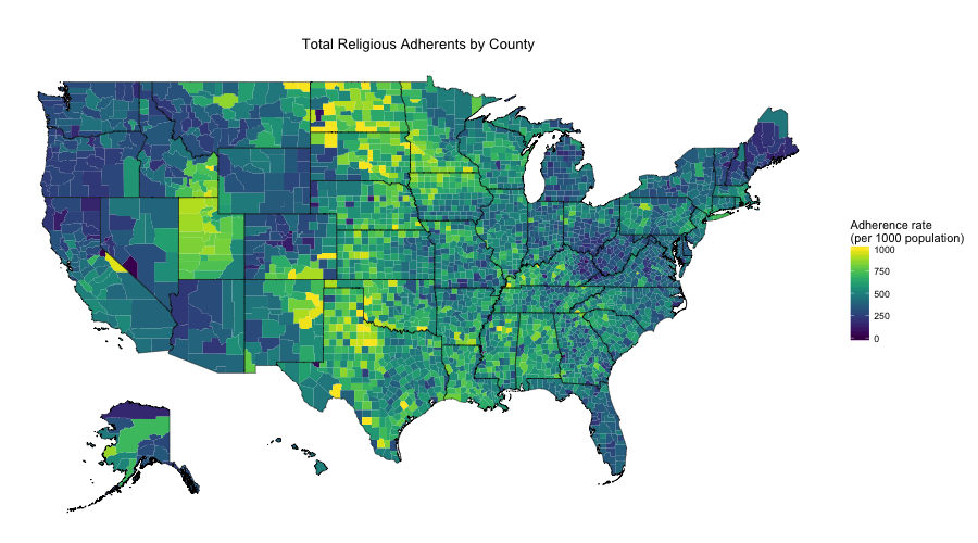 Religious Map Of The Us.Mapping Us Religion Adherence By County In R Arilamstein Com